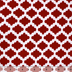 3782ab1acc2 Red White Moroccan Tile Cotton Jersey Spandex Blend Knit Fabric - Girl