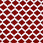 Red White Moroccan Tile Cotton Jersey Spandex Blend Knit Fabric