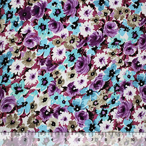 Purple Aqua Floral Garden Cotton Jersey Spandex Blend Knit Fabric