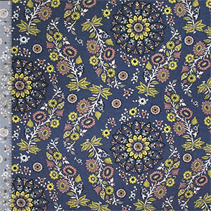 Mauve Yellow Wild Child Floral on Slate Gray Tencel Spandex Blend Knit Fabric