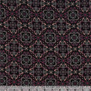 Brick Black Floral Tiles Double Brushed Jersey Spandex Blend Knit Fabric