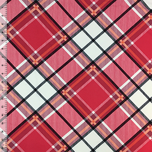 Lipstick Red Black Plaid Double Brushed Jersey Spandex Blend Knit Fabric