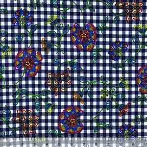Dotty Bright Floral on Navy Plaid Double Brushed Jersey Spandex Blend Knit Fabric