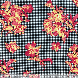 Coral Floral Bouquets on Black Plaid Double Brushed Jersey Spandex Blend Knit Fabric