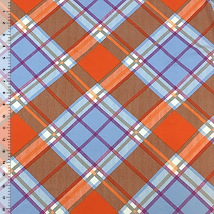 Orange Lilac Plaid Double Brushed Jersey Spandex Blend Knit Fabric