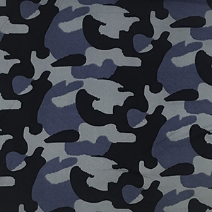 Blue Gray Black Camo Double Brushed Jersey Spandex Blend Knit Fabric