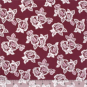 White Rose Outlines on Merlot Cotton Spandex Blend Knit Fabric