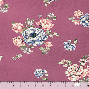 Blue Mauve Floral on Thistle Cotton Spandex Blend Knit Fabric
