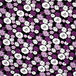 Purple Lilac Pasque Flowers Cotton Spandex Blend Knit Fabric