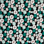 Teal Mint Pasque Flowers Cotton Spandex Blend Knit Fabric