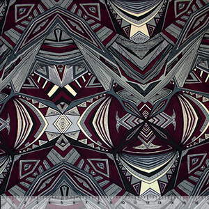 Merlot Gray Groovy Abstract Cotton Jersey Spandex Blend Knit Fabric