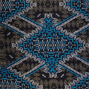 Blue Black Tiki Diamonds Cotton Jersey Spandex Blend Knit Fabric