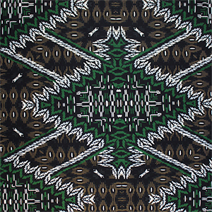 Green Black Tiki Diamonds Cotton Jersey Spandex Blend Knit Fabric