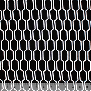 White Mod Honeycomb on Black Cotton Jersey Spandex Blend Knit Fabric