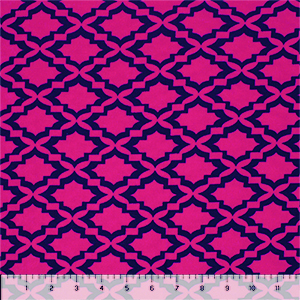 Fuchsia Navy Mod Tile Cotton Jersey Spandex Blend Knit Fabric