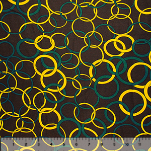 Yellow Teal Mod Rings on Cocoa Cotton Jersey Spandex Blend Knit Fabric