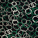 Green Ivory Mod Rings on Black Cotton Jersey Spandex Blend Knit Fabric