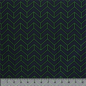 Half Yard Green Black Geo Arrow on Navy Cotton Jersey Spandex Blend Knit Fabric