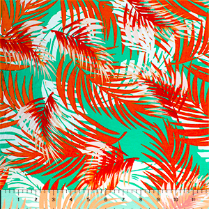 Orange Jade Palm Silhouettes Cotton Jersey Spandex Blend Knit Fabric
