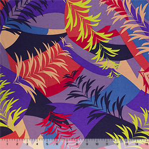 Multicolor Geo Palm Leaves Cotton Jersey Spandex Blend Knit Fabric