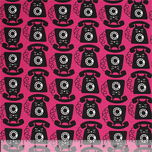 Black Vintage Cat Phones on Magenta Cotton Spandex Knit Fabric