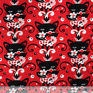 Black Botanical Cat Flowers on Lipstick Cotton Spandex Knit Fabric