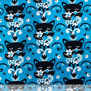 Black Botanical Cat Flowers on Azure Cotton Spandex Knit Fabric