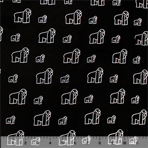 White Gorilla Outlines on Black Cotton Jersey Spandex Blend Knit Fabric