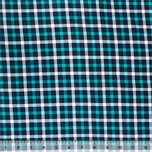 Aqua Navy Blue Plaid Cotton Jersey Spandex Blend Knit Fabric