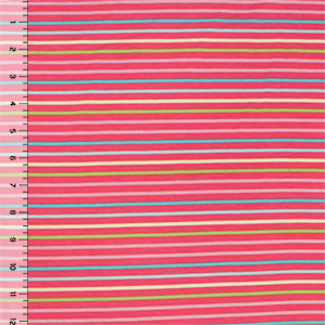 Small Sherbet Stripes on Coral Cotton Jersey Spandex Blend Knit Fabric