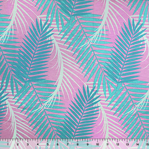 Teal Blue Palms on Lilac Cotton Jersey Spandex Knit Fabric