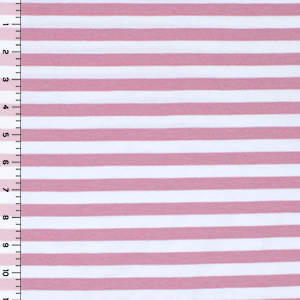 Dark Rose White Small Stripe Cotton Spandex Knit Fabric