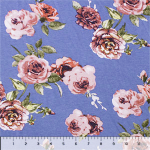 Mauve Purple Roses on Periwinkle Cotton Jersey Spandex Blend Knit Fabric