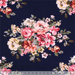 Big Pink Coral Floral on Navy Blue Cotton Jersey Spandex Blend Knit Fabric