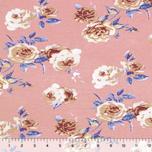 Dusty Gold Taupe Roses on Dogwood Cotton Jersey Spandex Blend Knit Fabric
