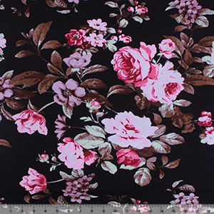 Big Pink Red Roses on Black Cotton Jersey Spandex Blend Knit Fabric