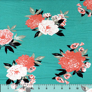 Coral Pink Floral on Teal Green Cotton Jersey Spandex Blend Knit Fabric