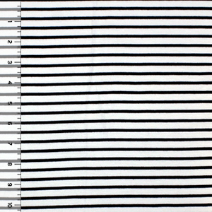 Black Small Stripe on White Cotton Spandex Blend Knit Fabric