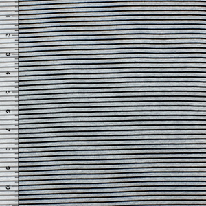 Black Small Stripe on Heather Gray Cotton Spandex Blend Knit Fabric