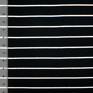 Wide Black Small White Stripe Cotton Spandex Blend Knit Fabric