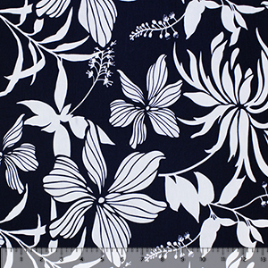 Gray Navy Hibiscus Floral Cotton Jersey Spandex Blend Knit Fabric