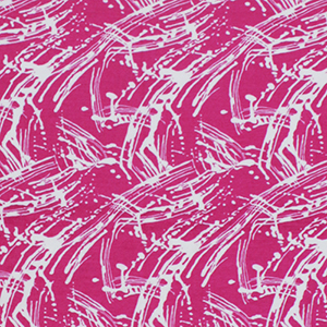 Paint Splatter on Fuchsia Cotton Jersey Spandex Blend Knit Fabric