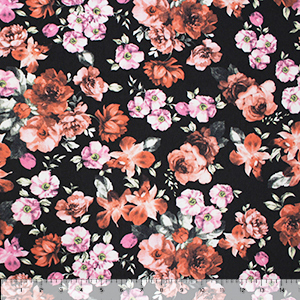 Vintage Red Pink Floral on Black Cotton Spandex Knit Fabric