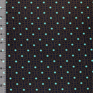Aqua Dot Geo Squares on Blue Cotton Jersey Spandex Blend Knit Fabric