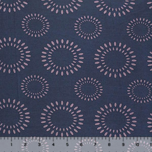 Lilac Retro Sun Bursts on Blue Cotton Jersey Spandex Blend Knit Fabric