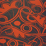Red Orange Mod Botanical on Dark Cocoa Cotton Jersey Spandex Blend Knit Fabric