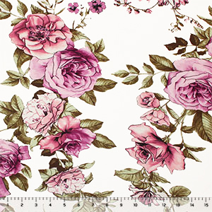 Big Pink Mauve Roses on White Cotton Jersey Spandex Blend Knit Fabric