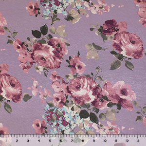 Muted Painted Floral on Dusty Plum Cotton Jersey Spandex Blend Knit Fabric