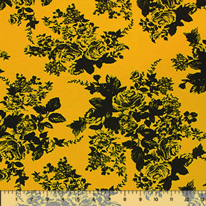 Half Yard Black Floral Silhouettes on Mustard Gold Cotton Jersey Spandex Blend Knit Fabric