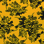 Black Floral Silhouettes on Mustard Gold Cotton Jersey Spandex Blend Knit Fabric